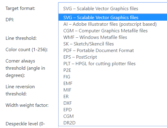 Select vector format